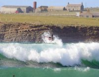 Perfect surfing waves at Skaill Bay